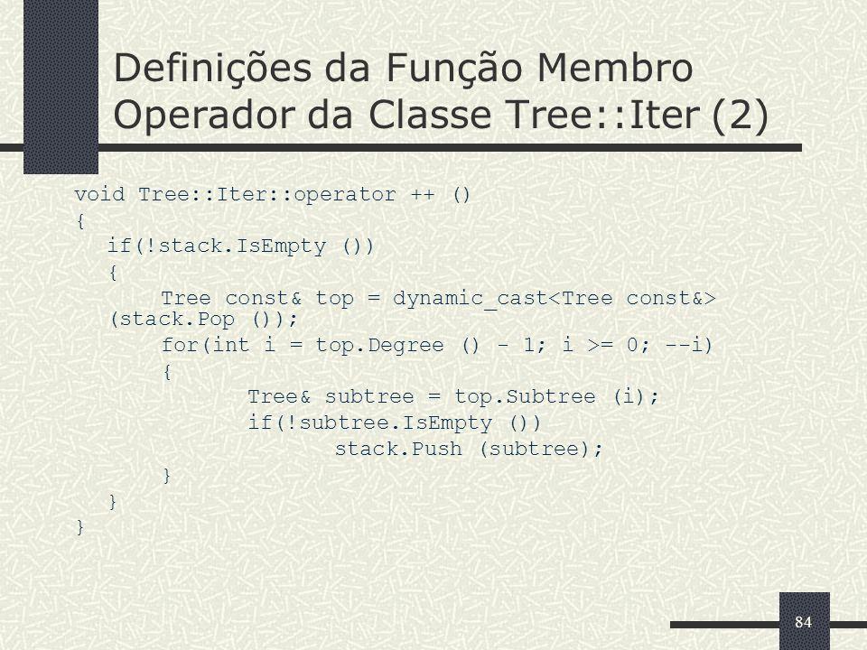 Definições da Função Membro Operador da Classe Tree::Iter (2)