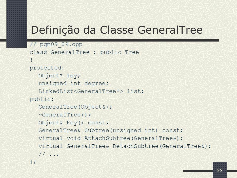Definição da Classe GeneralTree