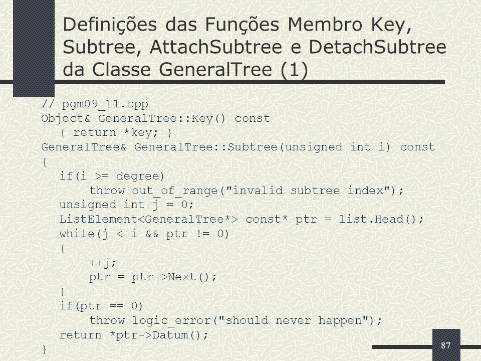 Definições das Funções Membro Key, Subtree, AttachSubtree e DetachSubtree da Classe GeneralTree (1)
