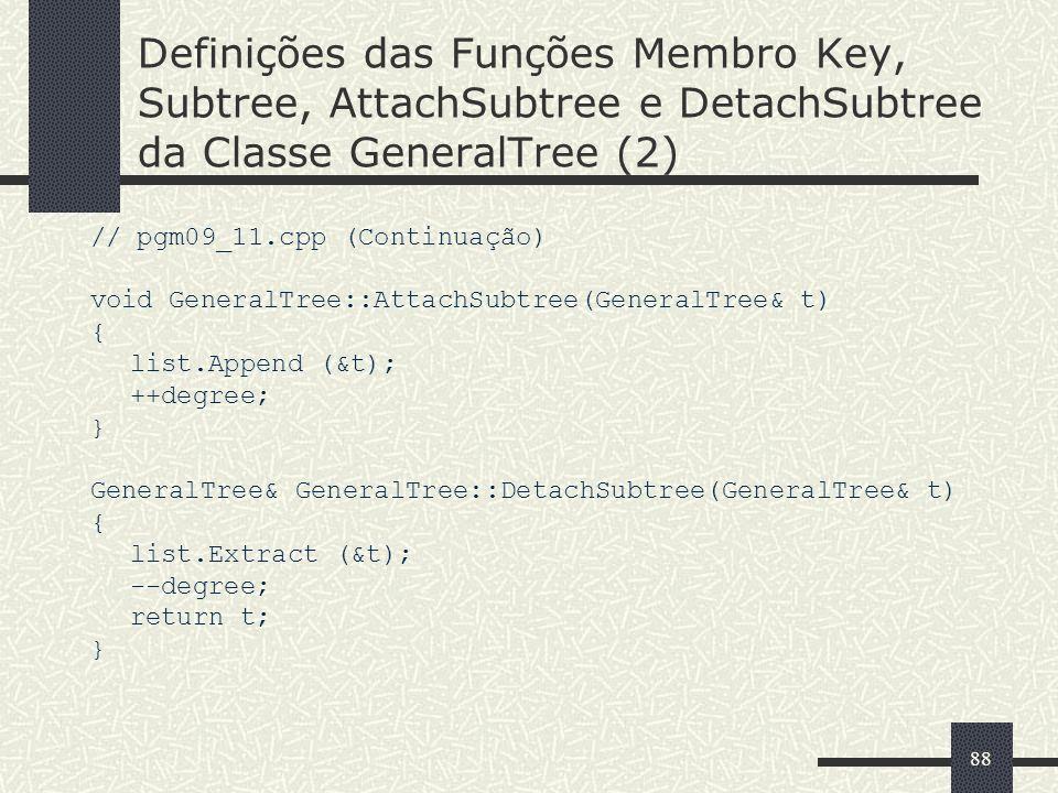 Definições das Funções Membro Key, Subtree, AttachSubtree e DetachSubtree da Classe GeneralTree (2)