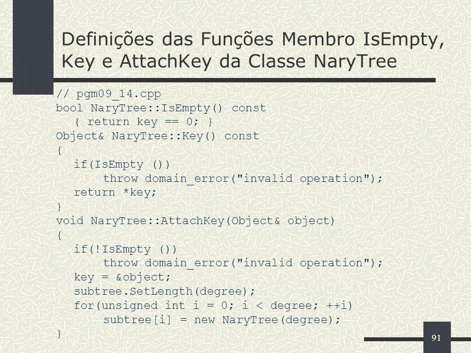 Definições das Funções Membro IsEmpty, Key e AttachKey da Classe NaryTree