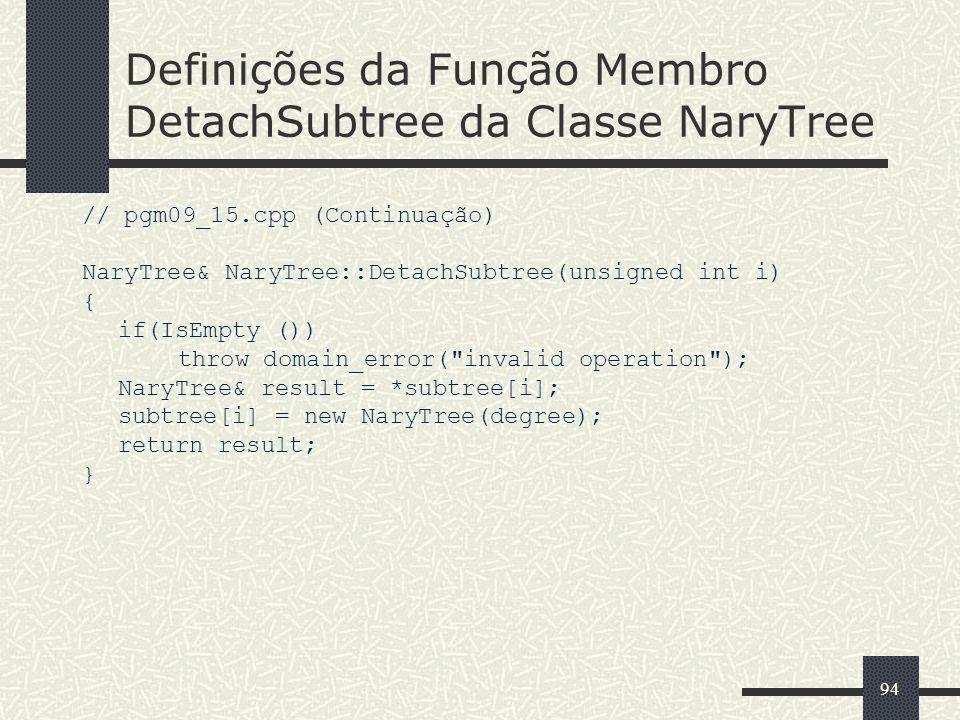 Definições da Função Membro DetachSubtree da Classe NaryTree