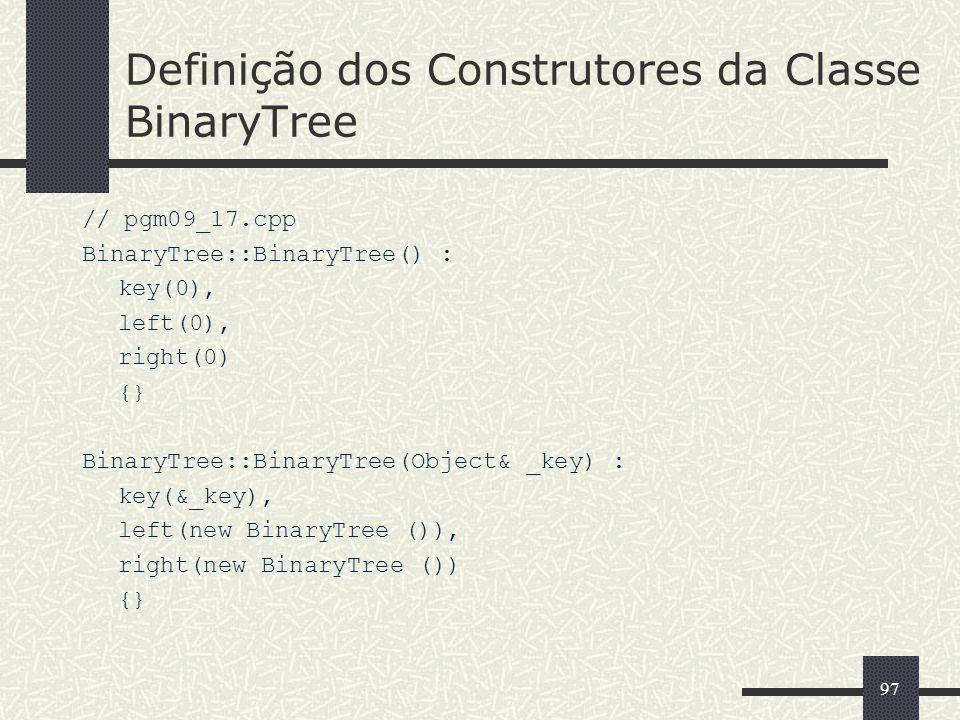 Definição dos Construtores da Classe BinaryTree