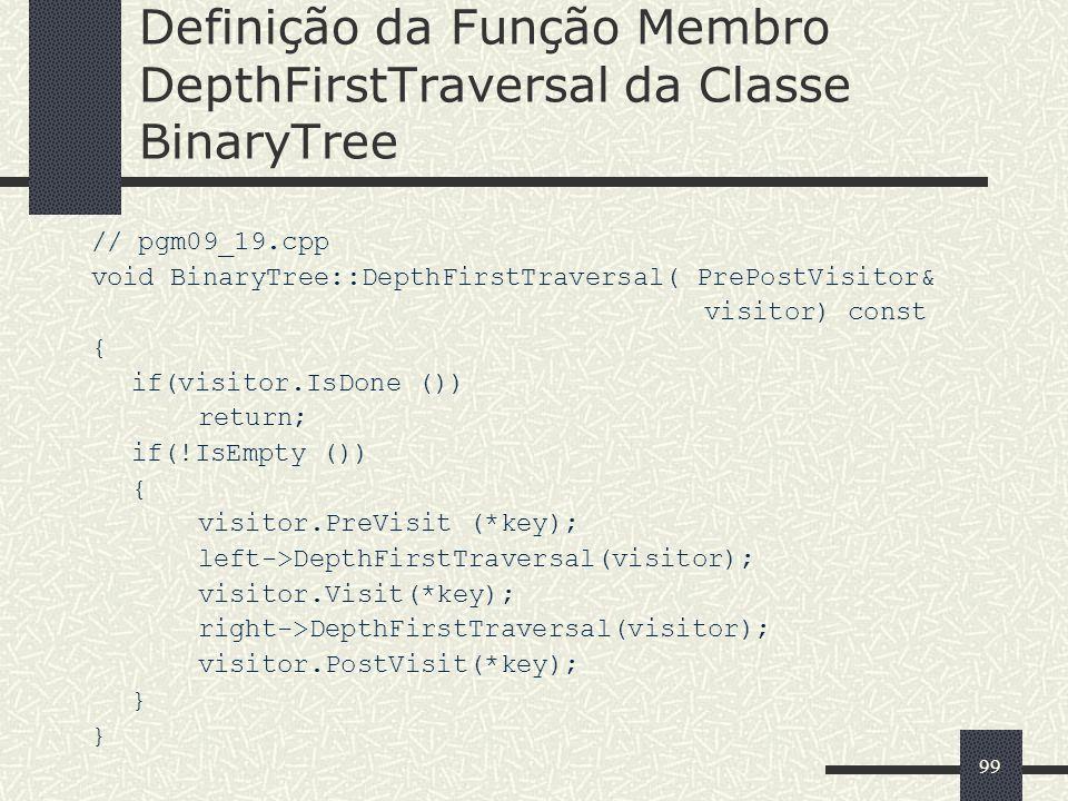Definição da Função Membro DepthFirstTraversal da Classe BinaryTree