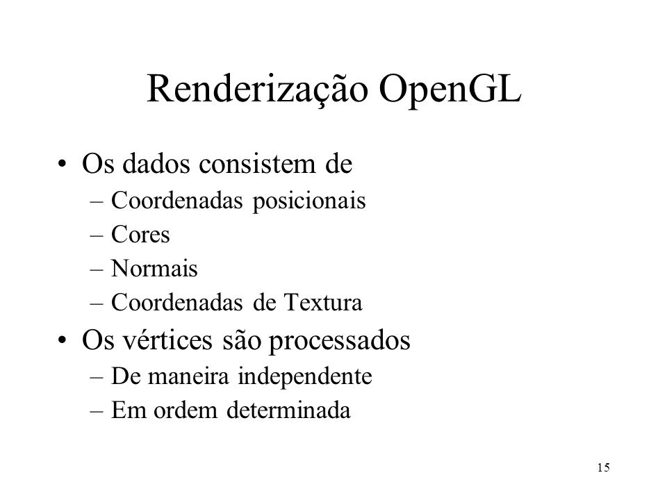 Renderização OpenGL Os dados consistem de Os vértices são processados