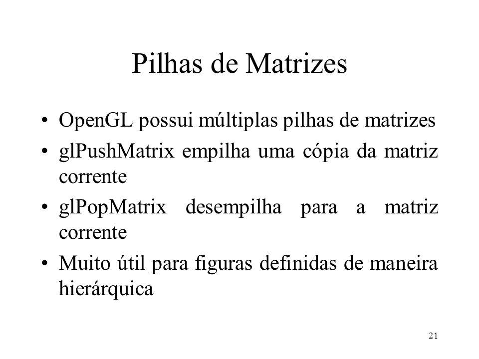 Pilhas de Matrizes OpenGL possui múltiplas pilhas de matrizes