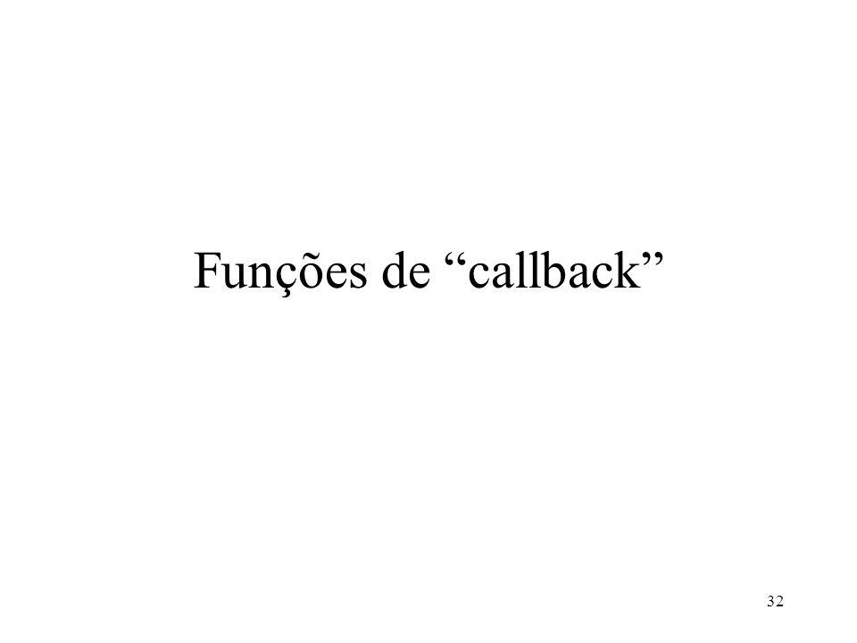 Funções de callback