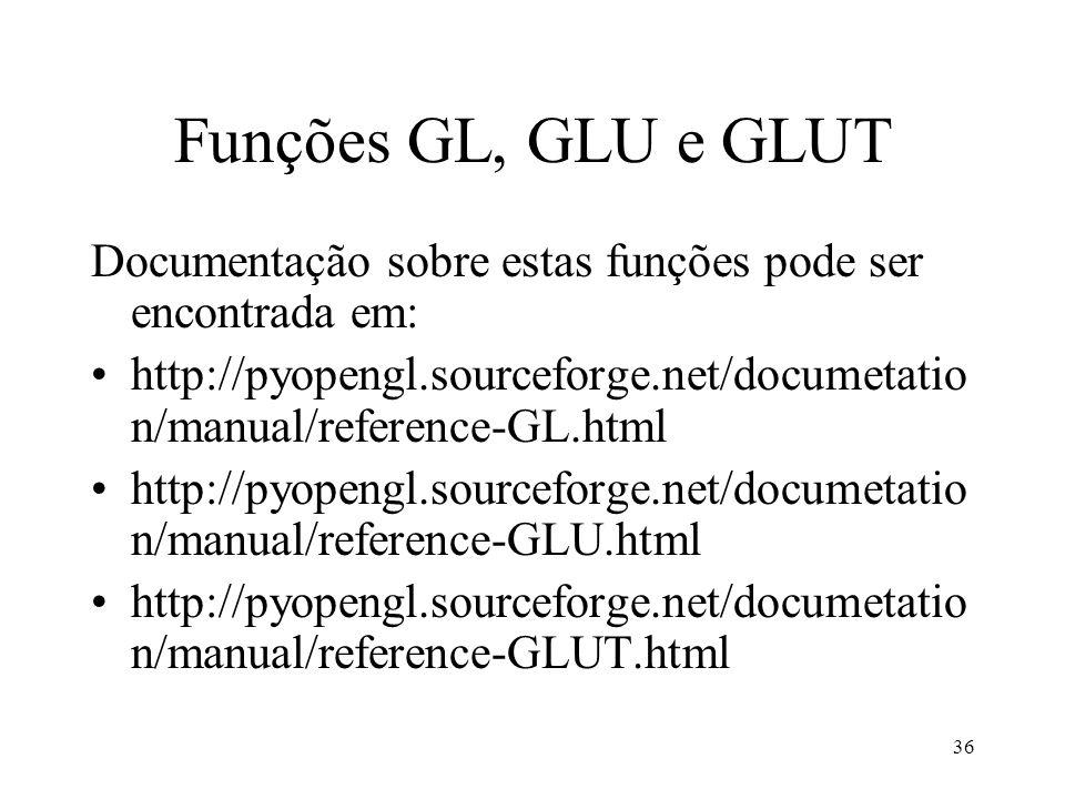 Funções GL, GLU e GLUTDocumentação sobre estas funções pode ser encontrada em: http://pyopengl.sourceforge.net/documetation/manual/reference-GL.html.