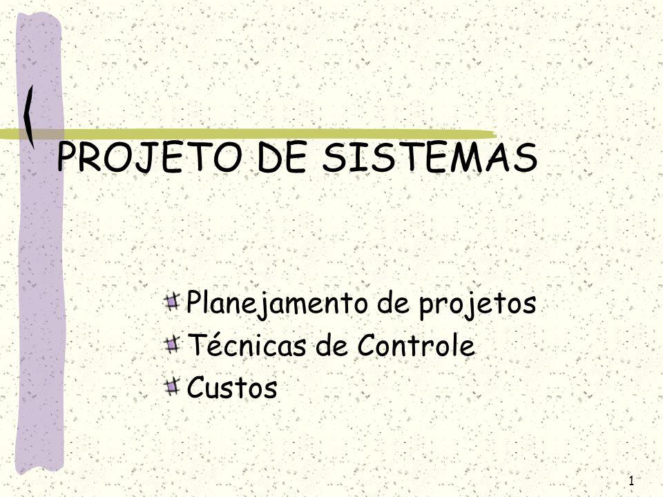 PROJETO DE SISTEMAS Planejamento de projetos Técnicas de Controle