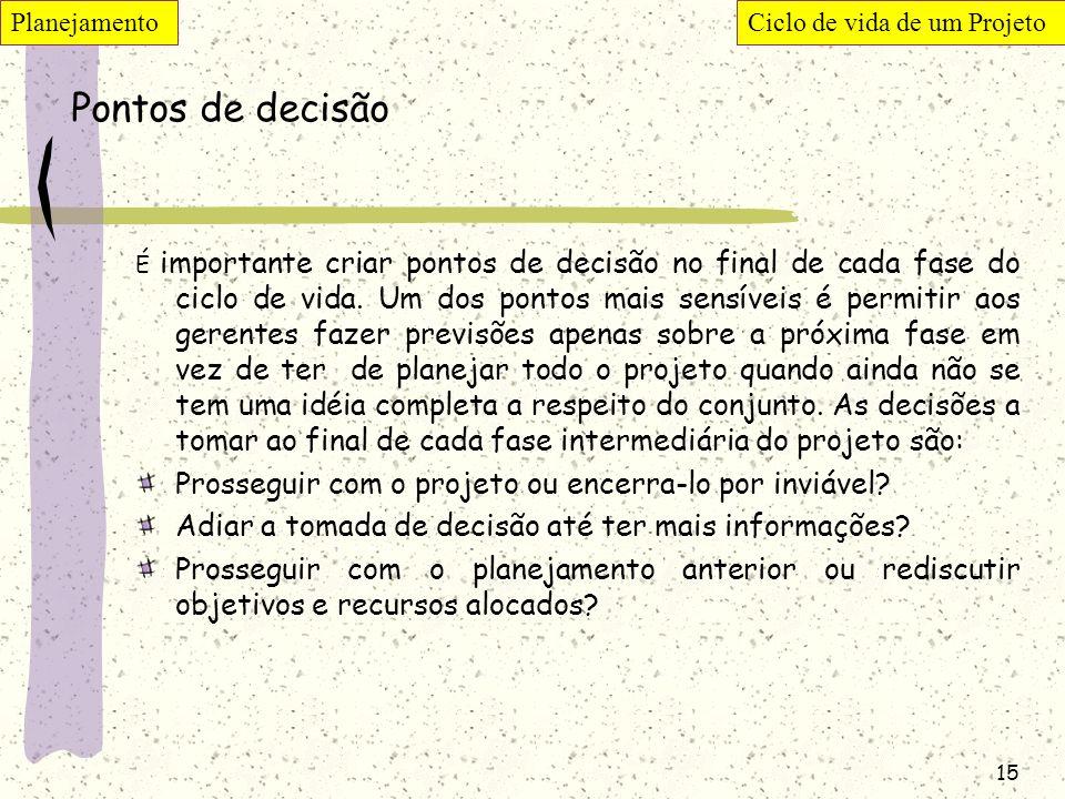 Pontos de decisão Prosseguir com o projeto ou encerra-lo por inviável