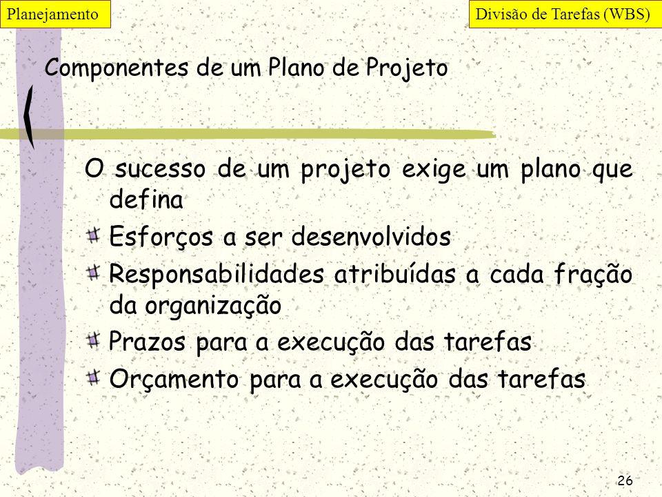 Componentes de um Plano de Projeto
