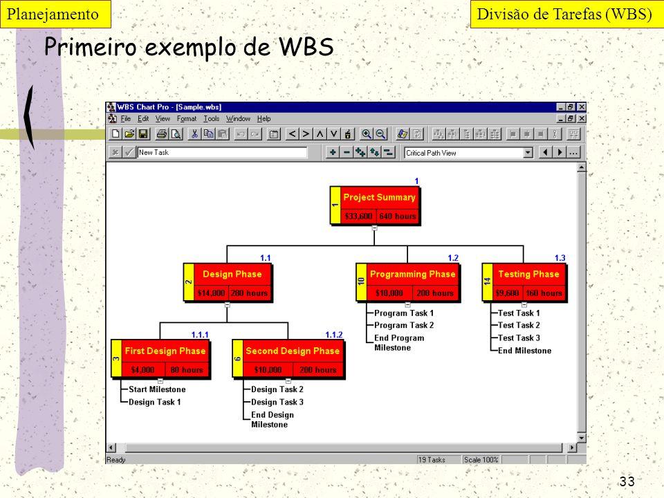 Primeiro exemplo de WBS