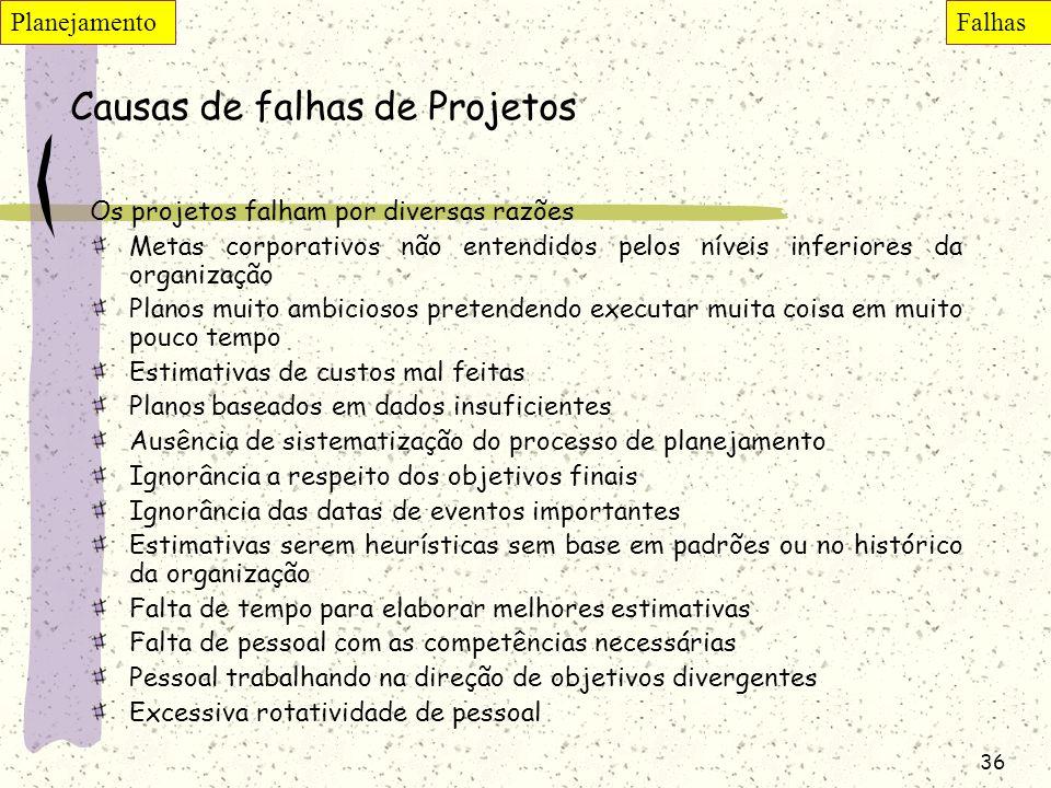 Causas de falhas de Projetos