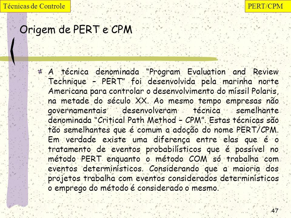 Técnicas de Controle PERT/CPM. Origem de PERT e CPM.