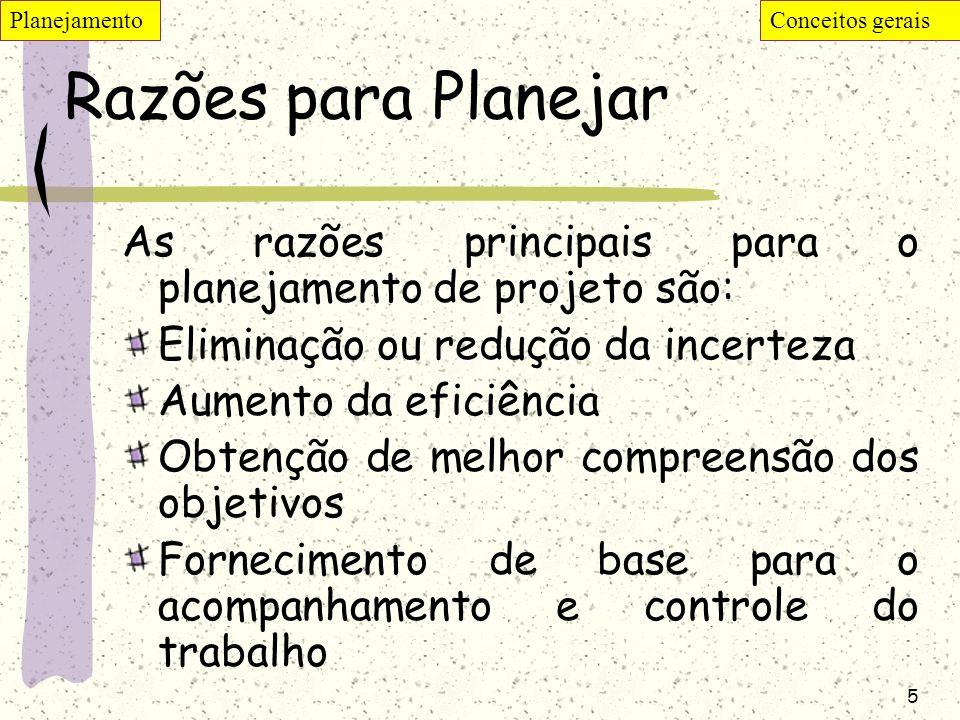 Planejamento Conceitos gerais. Razões para Planejar. As razões principais para o planejamento de projeto são: