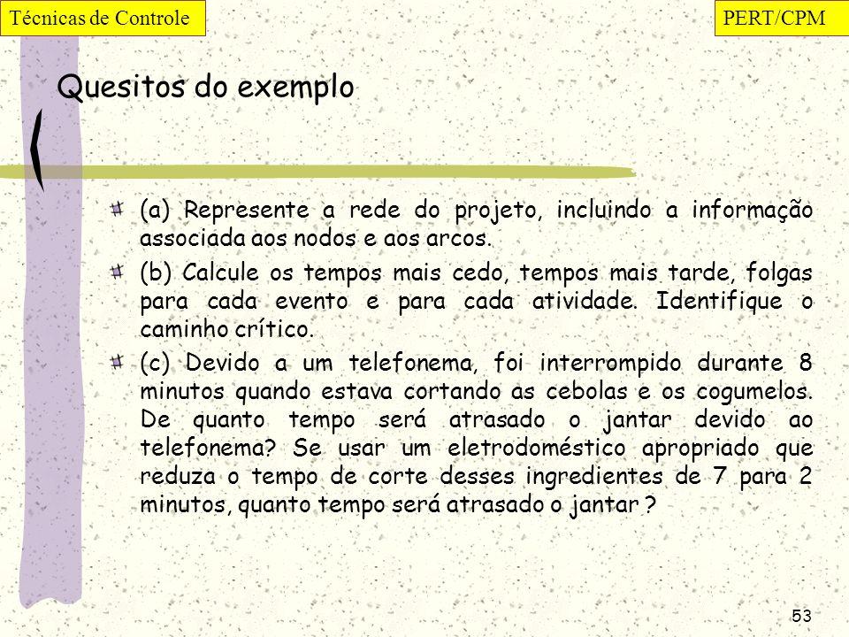 Técnicas de Controle PERT/CPM. Quesitos do exemplo. (a) Represente a rede do projeto, incluindo a informação associada aos nodos e aos arcos.