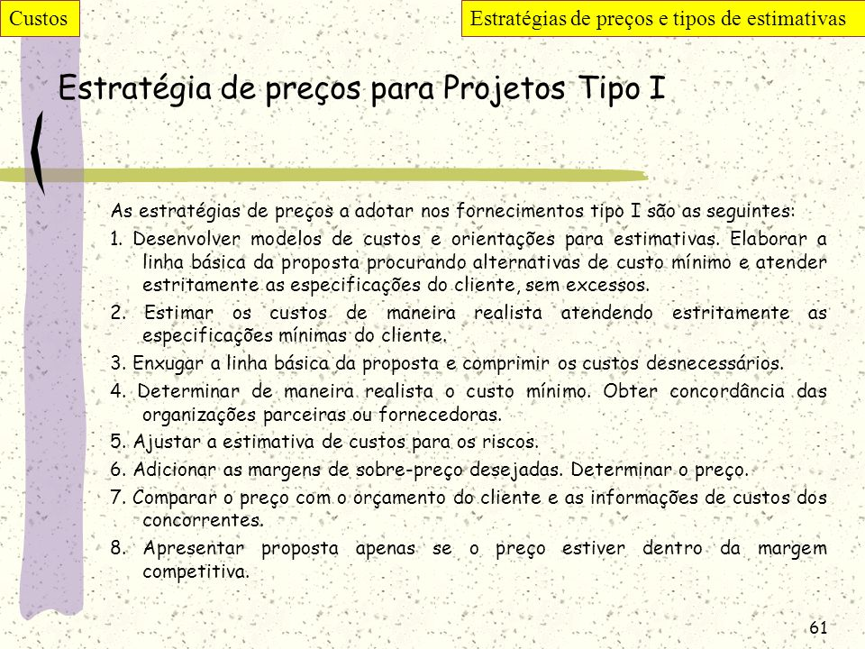 Estratégia de preços para Projetos Tipo I