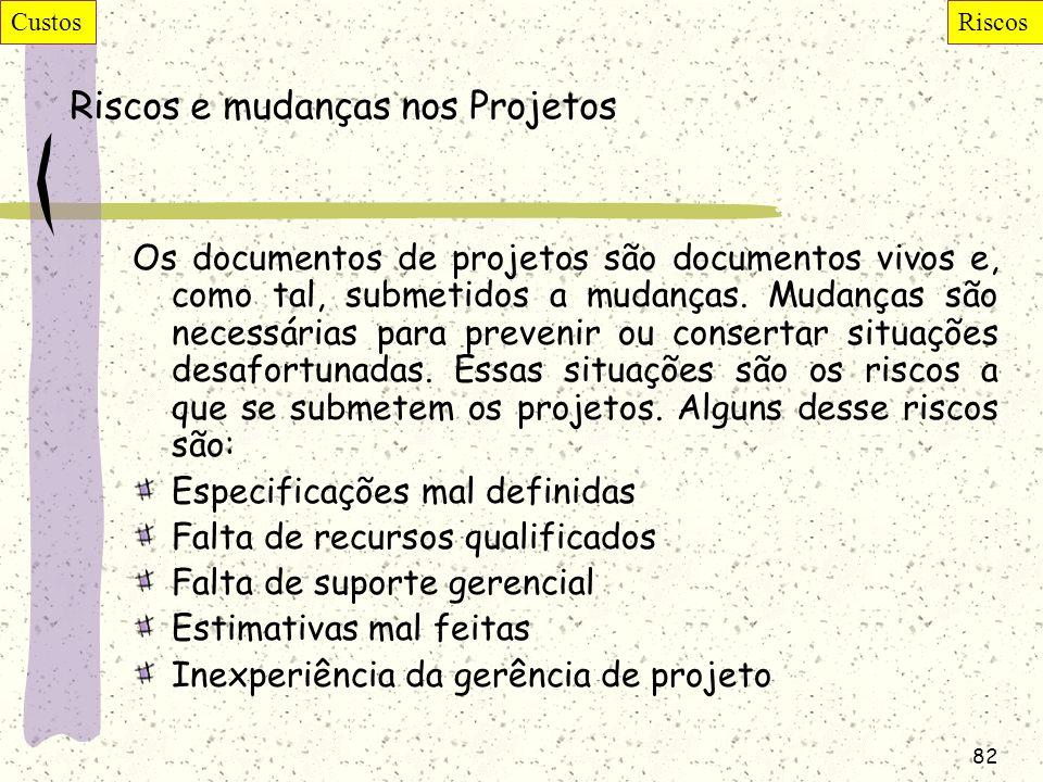 Riscos e mudanças nos Projetos