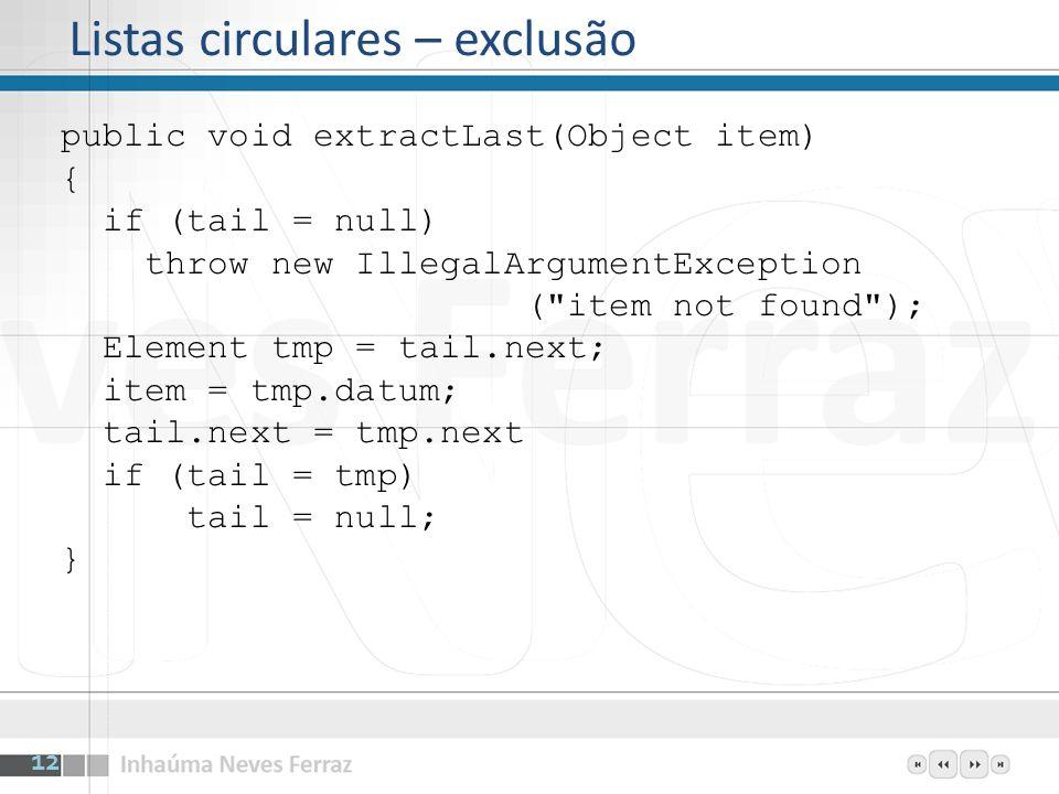 Listas circulares – exclusão