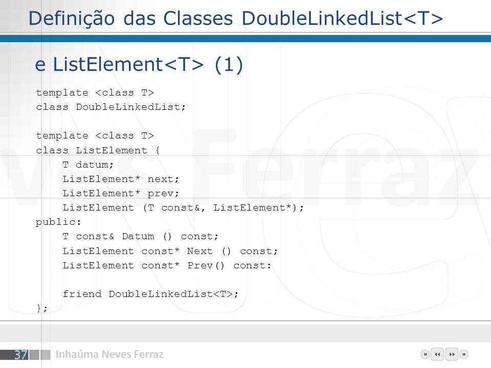 Definição das Classes DoubleLinkedList<T> e ListElement<T> (1)