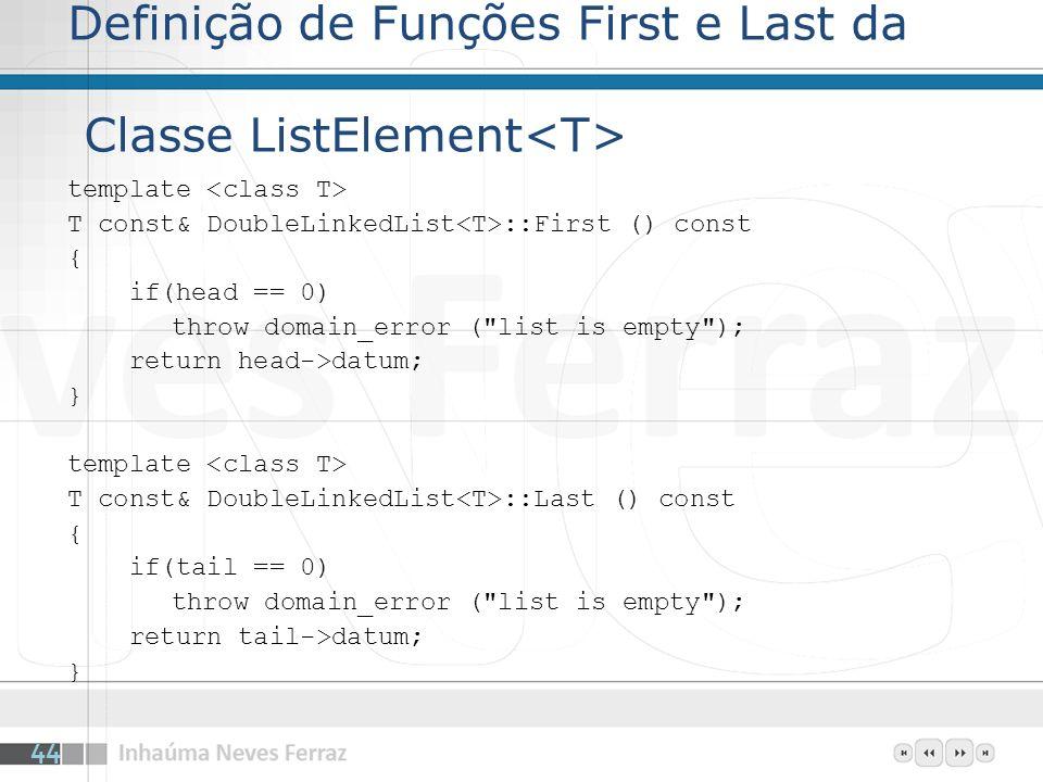 Definição de Funções First e Last da Classe ListElement<T>