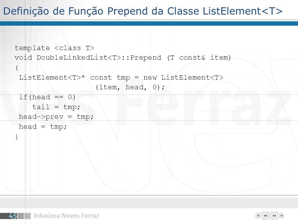 Definição de Função Prepend da Classe ListElement<T>