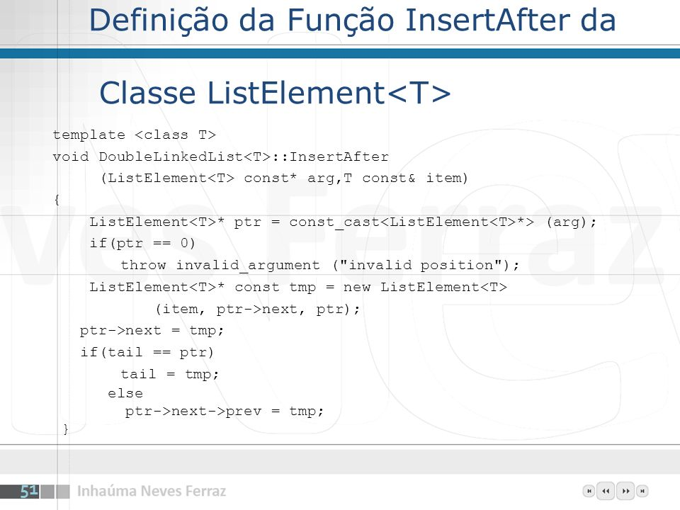 Definição da Função InsertAfter da Classe ListElement<T>