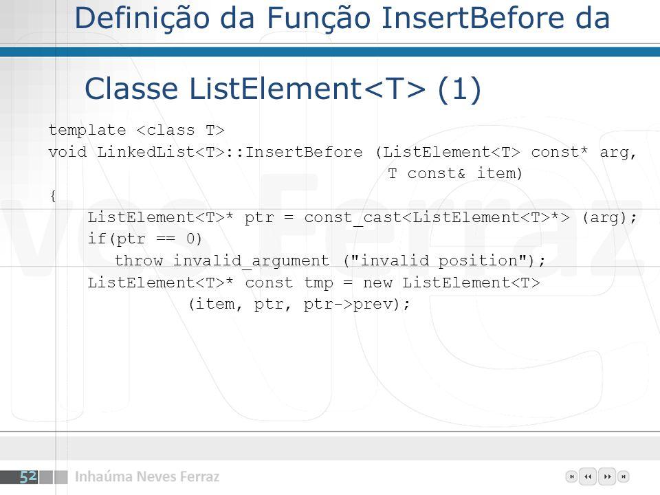 Definição da Função InsertBefore da Classe ListElement<T> (1)