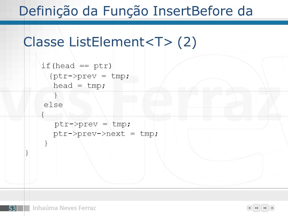Definição da Função InsertBefore da Classe ListElement<T> (2)