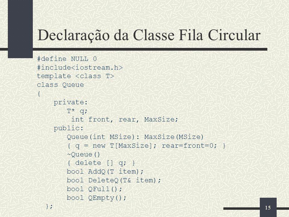 Declaração da Classe Fila Circular