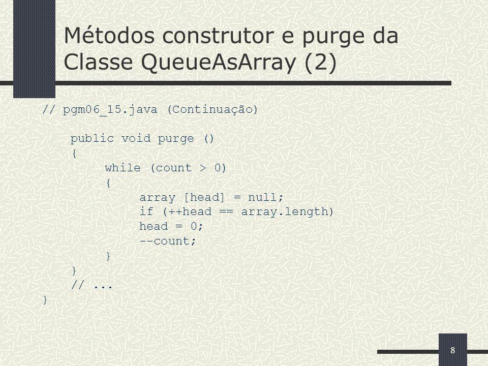 Métodos construtor e purge da Classe QueueAsArray (2)