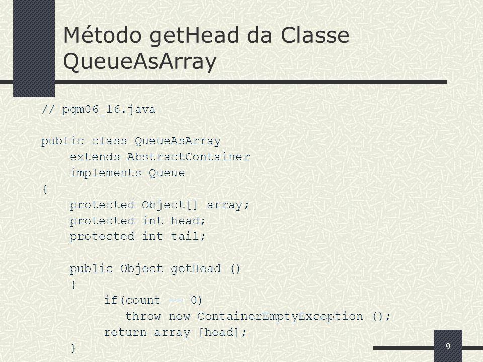 Método getHead da Classe QueueAsArray