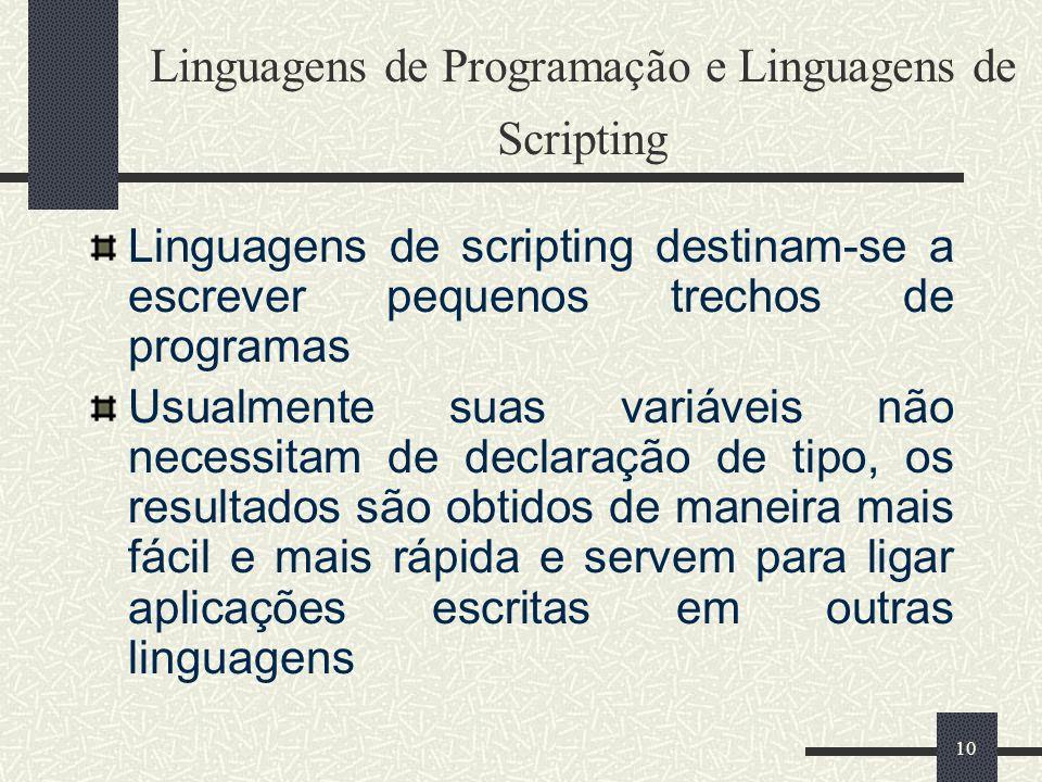 Linguagens de Programação e Linguagens de Scripting