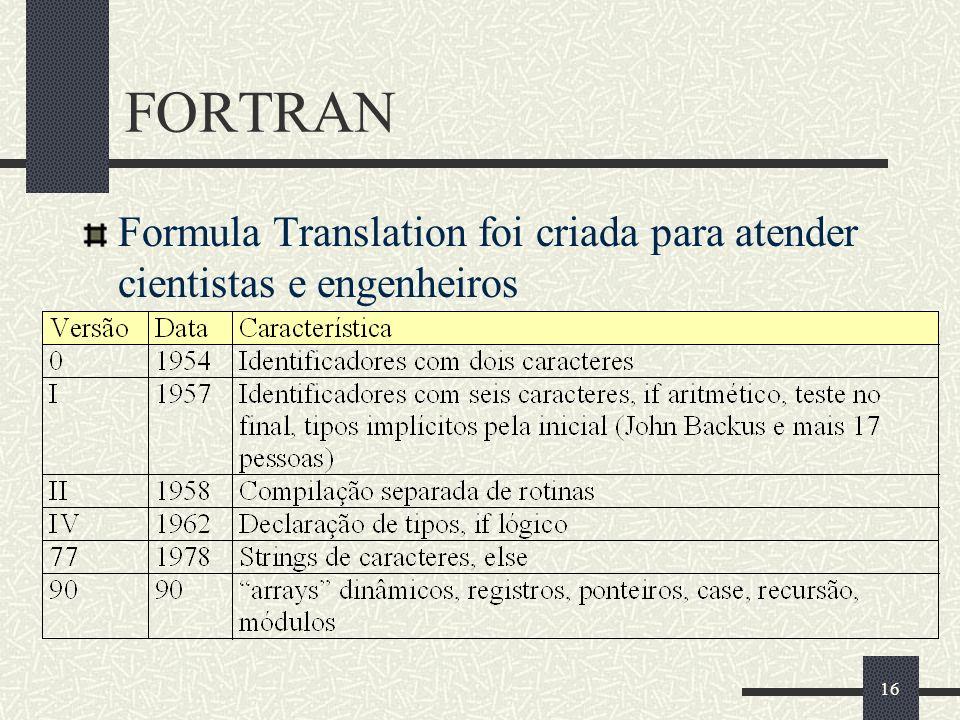 FORTRAN Formula Translation foi criada para atender cientistas e engenheiros