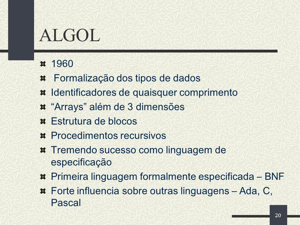 ALGOL 1960 Formalização dos tipos de dados