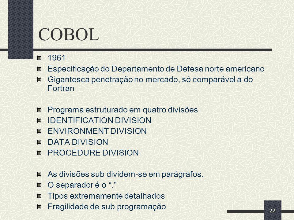 COBOL 1961 Especificação do Departamento de Defesa norte americano