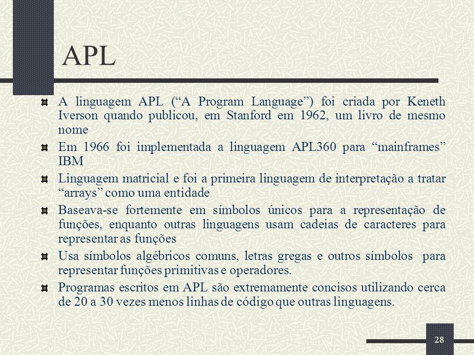 APL A linguagem APL ( A Program Language ) foi criada por Keneth Iverson quando publicou, em Stanford em 1962, um livro de mesmo nome.