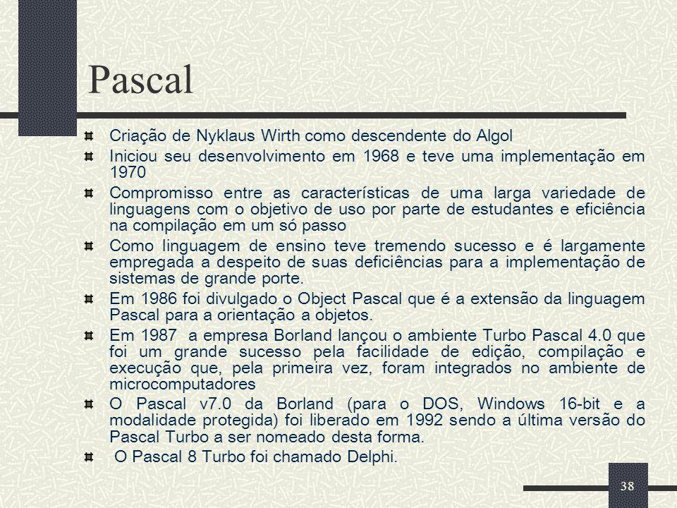 Pascal Criação de Nyklaus Wirth como descendente do Algol