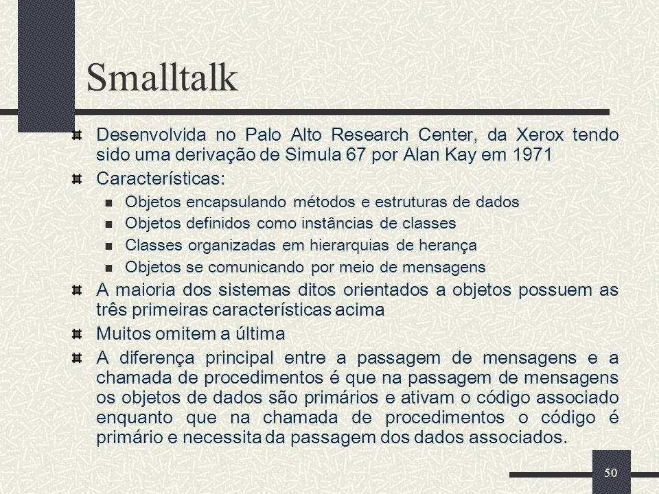 Smalltalk Desenvolvida no Palo Alto Research Center, da Xerox tendo sido uma derivação de Simula 67 por Alan Kay em 1971.