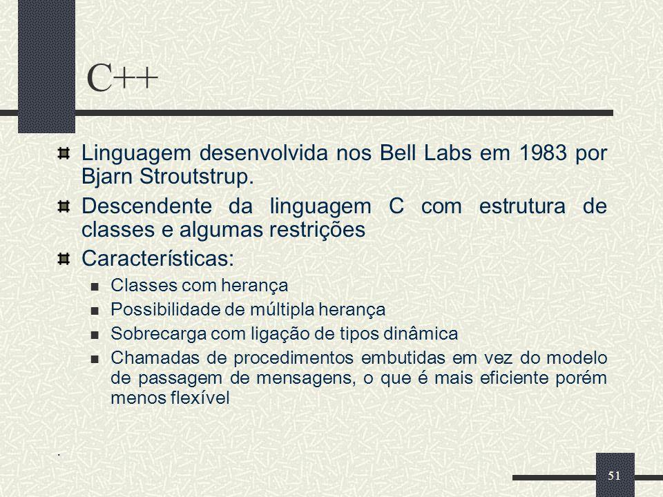 C++ Linguagem desenvolvida nos Bell Labs em 1983 por Bjarn Stroutstrup. Descendente da linguagem C com estrutura de classes e algumas restrições.