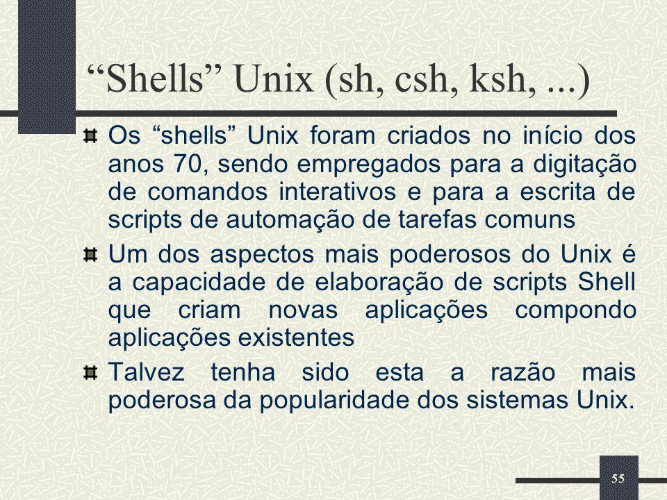 Shells Unix (sh, csh, ksh, ...)