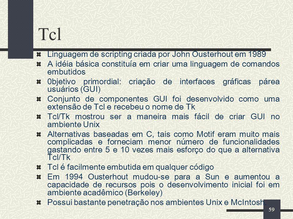 Tcl Linguagem de scripting criada por John Ousterhout em 1989