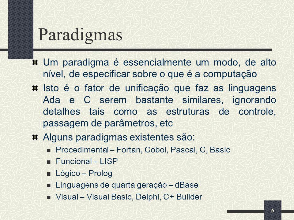 Paradigmas Um paradigma é essencialmente um modo, de alto nível, de especificar sobre o que é a computação.