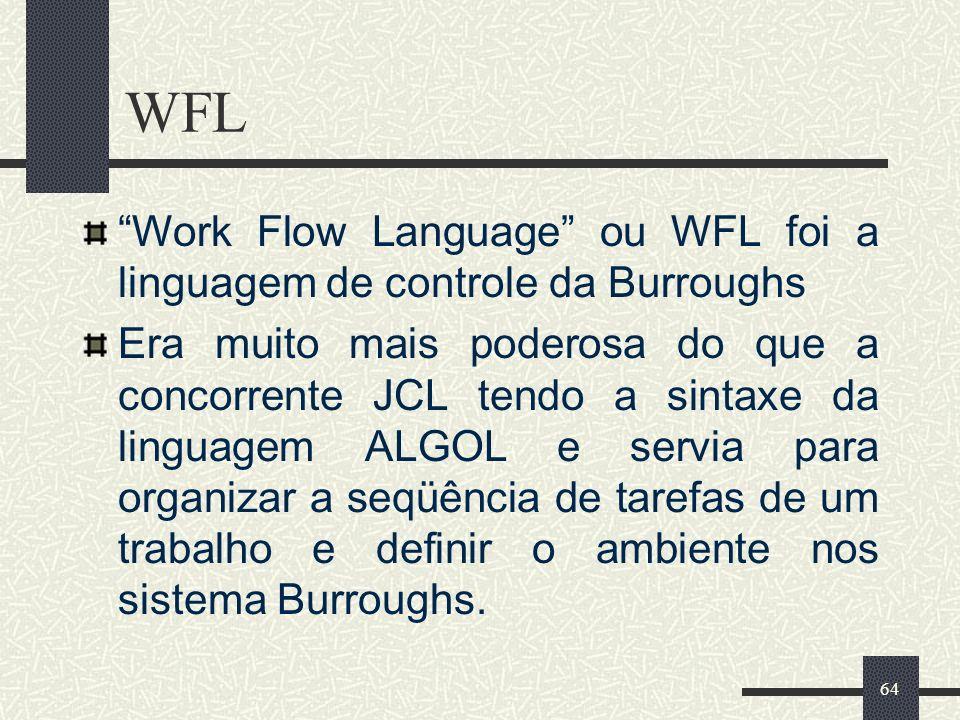 WFL Work Flow Language ou WFL foi a linguagem de controle da Burroughs.