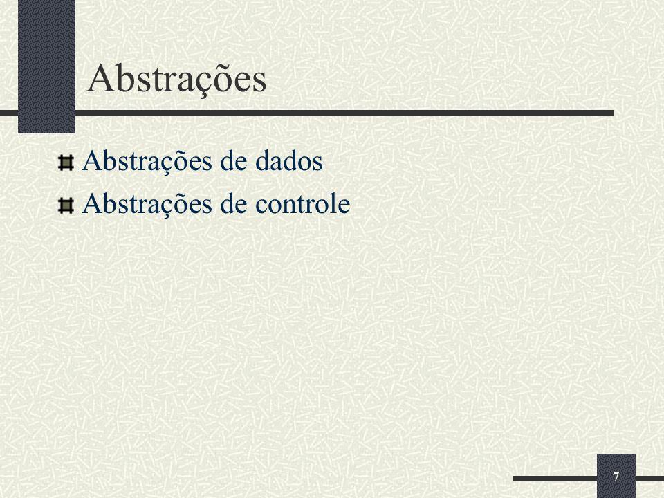 Abstrações Abstrações de dados Abstrações de controle