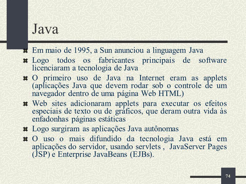 Java Em maio de 1995, a Sun anunciou a linguagem Java