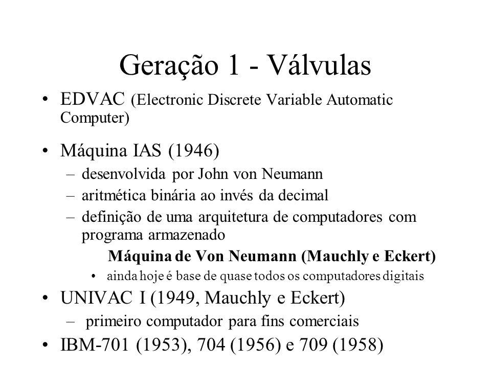 Geração 1 - VálvulasEDVAC (Electronic Discrete Variable Automatic Computer) Máquina IAS (1946) desenvolvida por John von Neumann.