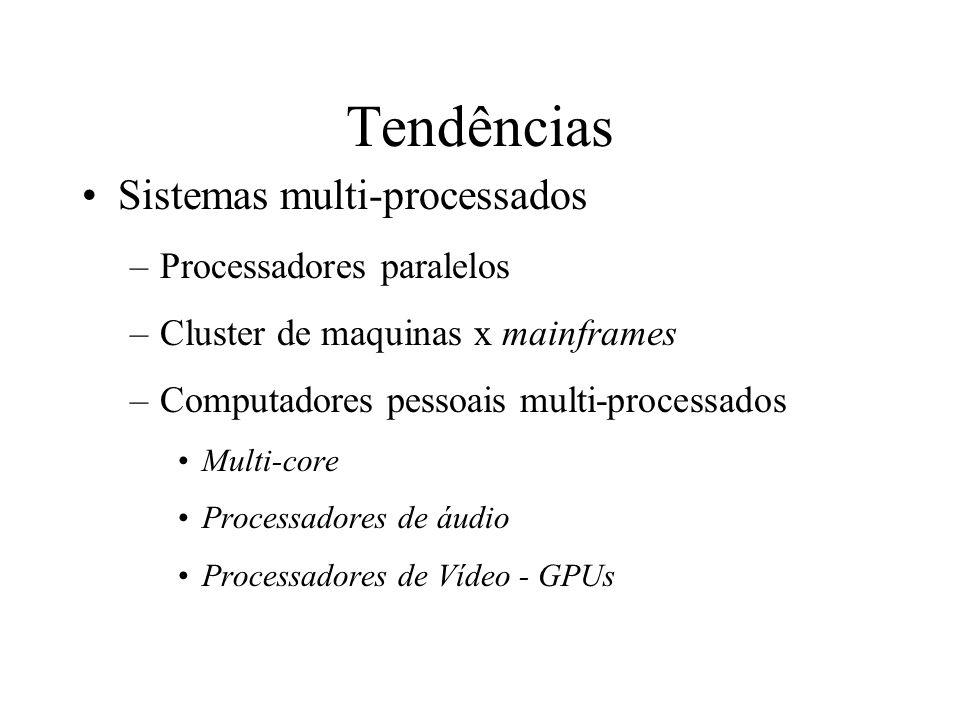 Tendências Sistemas multi-processados Processadores paralelos