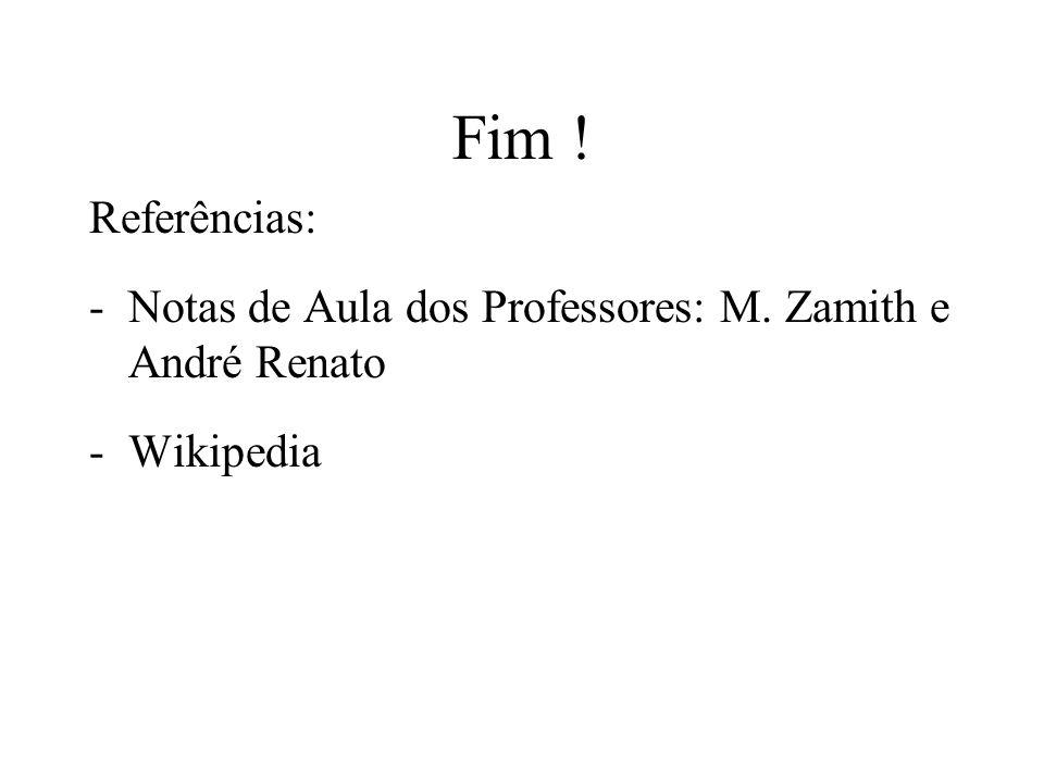 Fim ! Referências: Notas de Aula dos Professores: M. Zamith e André Renato Wikipedia