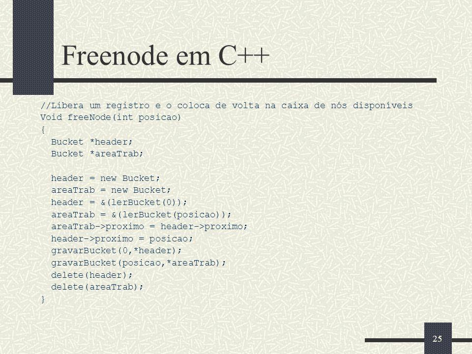 Freenode em C++ //Libera um registro e o coloca de volta na caixa de nós disponíveis. Void freeNode(int posicao)